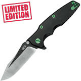 Складной нож KVT® Flipper Rick Hinderer Factory Custom, Two-Tone Black PVD/Satin Finish, Emerald Green Anodized 80 мм. K0392BLKGRN (Zero Tolerance)