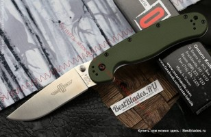 Складной нож RAT™-1 Stone Wash Blade, Olive Drab Handle 80 мм. ONT/8880GR (Ontario)
